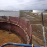 Image showing overhead angle of a 212 foot diameter by 48 foot height EFR tank.