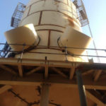 """Image showing the erection of a 23'11"""" DIA X 49'6″ H DRYING TOWER"""