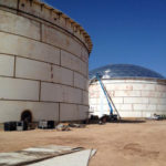 Image of a 206 foot diameter by 60 foot height IFR with GEO Domes erection from the outside
